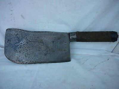 Antique butchers meat Cleaver by T Williams ade of Pipe Steel with 9 inch blade