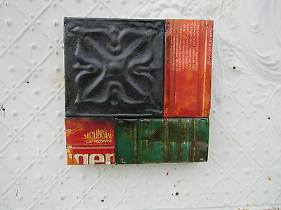 "9"" Pieced Square  Antique Ceiling Tin by Lori Daniels with Foldgers Coffee Can"