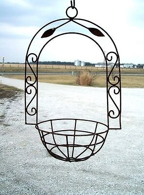 Wrought Iron Hanging Basket w/ Leaves - Flower Planter PotS