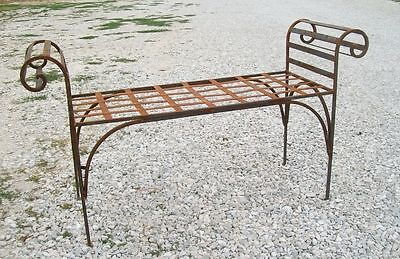 Large Wrought Iron King's Bench Outdoor or Indoor Seating Metal Patio Decor