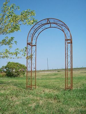 Wrought Iron Round Top Arbor Trellis - Metal Garden Arch - Yard Art