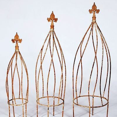 "27"" Large Wrought Iron Twist Topiary or Obelisk Trellis - Great in a Flower Pot"