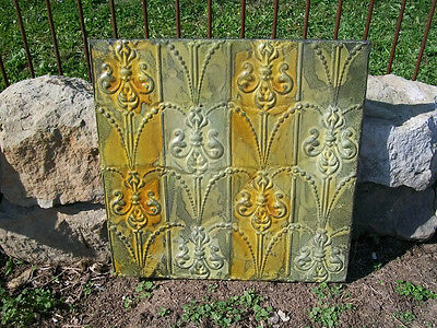 "24"" X 24"" Antique Ceiling Tin Wall Art by Lori Daniels -  Greens and Yellow"