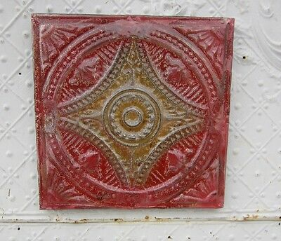 "12"" Square  Antique Ceiling Tin Wall Art by Lori Daniels -Red & Brown Colors"
