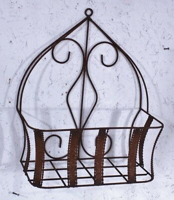 Rustic Wrought Iron Strap Half Wall Basket - Metal Garden Flower Planter