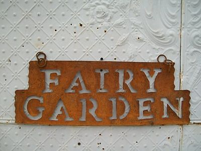Metal Fairy Garden Sign Home Decor Metal Yard Ornament Rustic Art