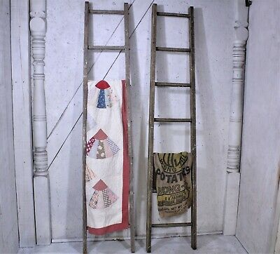 Antique Vintage Wood 7 Rung Ladder - Great Quilt Rack or Blanket Display