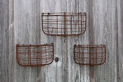 Rustic Wrought Iron Medium Half Round  Half Wall Basket -  Flower Planter