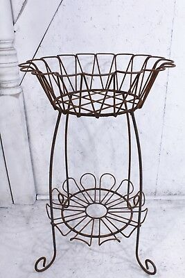 """Large 34.5"""" tall Wrought Iron Daisy Design Planter Stand - Cute Metal Pot Holder"""
