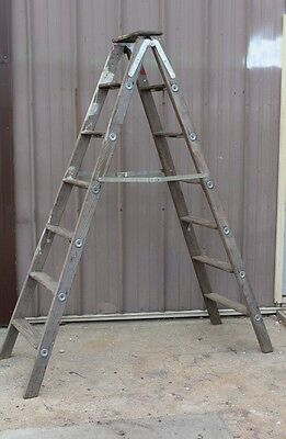 Vintage Wood 7 Step Apple Ladder - Antique Wood Ladder - Vintage Ladder #1