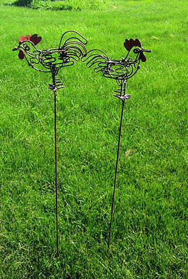 Wrought Iron Rooster Garden Stake Lawn Ornament Yard Decor
