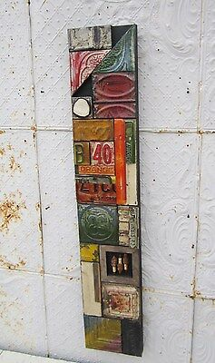 "48""  Antique Ceiling Tin Wall Art by Lori Daniels  Pieced Lots of Colors"