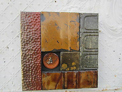 "12"" Pieced Square  Antique Ceiling Tin Wall Art by Lori Daniels in Fall Colors"