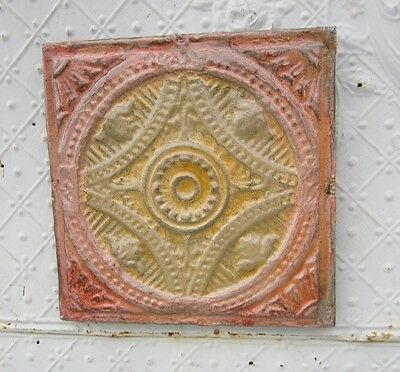 "12"" Square  Antique Ceiling Tin Wall Art by Lori Daniels -Tan & Salmon Colors"