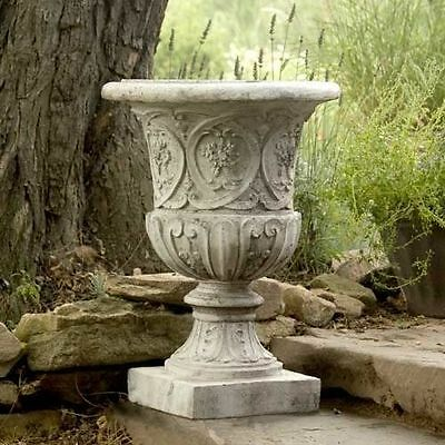 "25"" Lippie Fiberstone Planter Urn - Vintage Looking Flower Pot"