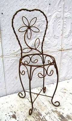 "30"" Wrought Iron Daisy Chair Holds 12"" Pot Metal Basket Container Patio Planter"