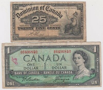 Lots of 2 Canada 1900 Dominion 25 Cent, and 1954 1 Dollar banknotes, circulated