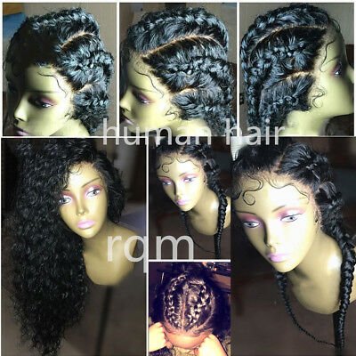 Brazilian Human Hair Wig Curly Wavy Lace Front Wigs Baby Hair Pre Plucked Black