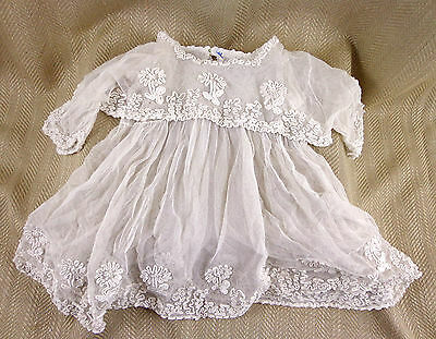 Antique Christening Gown Childs Dolls Victorian Raised Work PRINCESS LACE