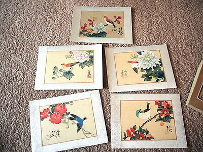 Vintage Box Set of Chinese Paintings (5) on silk