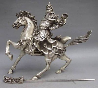 Chinese Collectable Tibet Silver Warrior God Guan Yu & Horse Statue