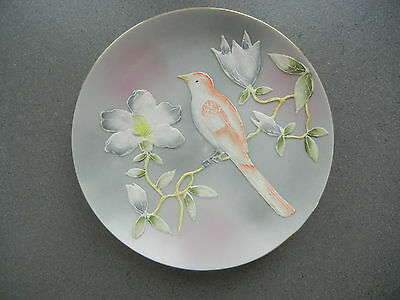 Collector Plate Hand Painted Porcelain Raised Design Bird Flowers Decorative