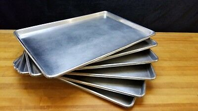 "Lot of 6 Full Size Aluminum 18""x26"" Bakery Sheet Tray Commercial NSF Made USA"