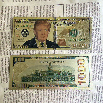 Trump $1,000 Dollar Gold Bill  President Donald J. Plated US Bank Note