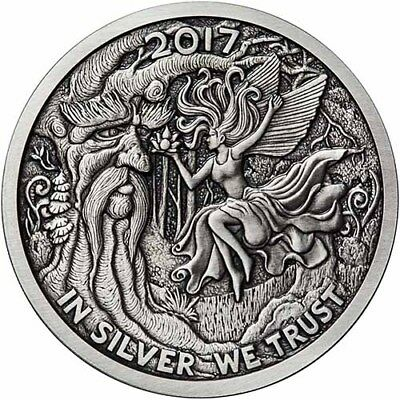 2017 Silverbug Collection Ariel The Tree Fairy 5 oz Silver Antiqued Finish Round