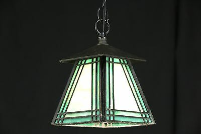 Arts & Crafts Antique Leaded Stained Glass Pendant Ceiling Light Fixture