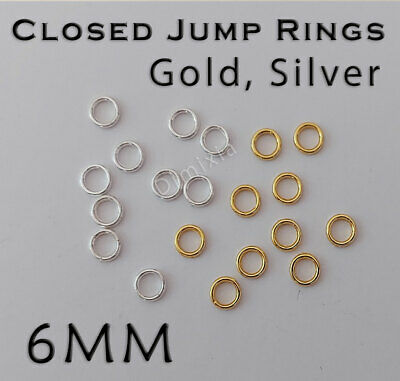 Silver 6mm Soldered Close Jump Rings Split Key Ring Chain Round Circle 6 mm