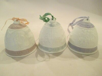 LLadro Annual Christmas Bell 1991 1992 1993 NO Box Bisque Spain Set of 3