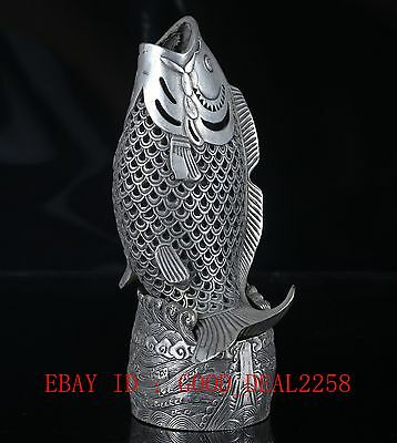 Old Tibet Silve Copper Hand Carved Fish Incense Burner With Qing Dynasty Mark