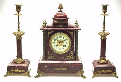 Antique French 8 Day Red Marble & Ormolu Clock Original Striking Mantel Clock