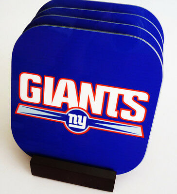New NY GIANTS Sports COASTERS Set of 4 Boxed with wood stand