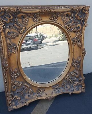 "Antique vintage French Style Golden Gilt 32"" x 33""  Wall Mirror Frame"