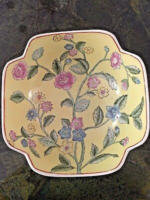 Chinese Porcelain Yellow w/ Pink and Blue Flowers Pattern Bowl Hand Painted 10""