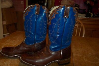 Boulet Western Boots Mens Size 9  Square Toe, Flame Stitch,  Brown/blue