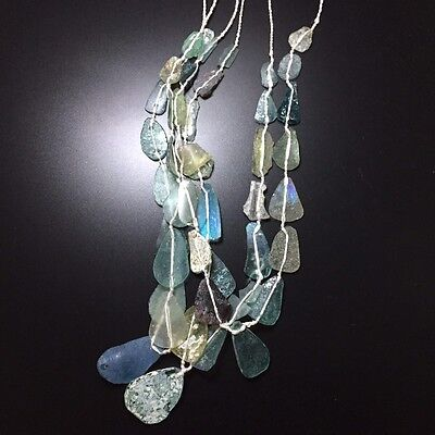 Roman Glass Necklace Near Eastern Amazing Antiques Very Old 45 pieces of Glass
