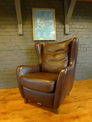Harvey's Barolo brown leather 50s 60s retro danish mid century style egg chair 7