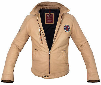 """TAN"" LEATHER JACKET (LINED) Sz. Large with *Rare Native American Patches*"