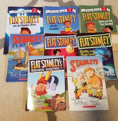 Lot of 8 FLAT STANLEY Paperback Books by JEFF BROWN Chapter Reading Books