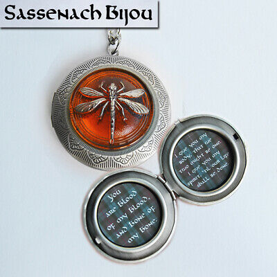 Dragonfly in Amber Silver Locket Pendant Necklace - Outlander inspired