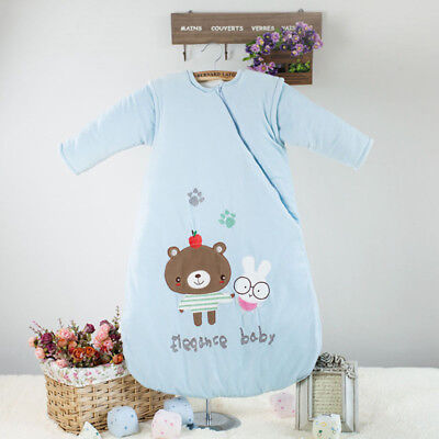 New Baby Sleeping Bag Sleepsack Travel Removable Sleeves Cotton Super Warm 6-48M