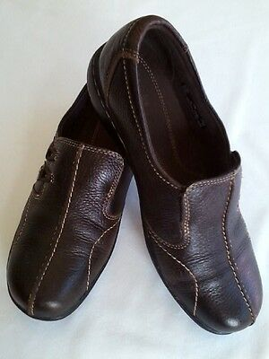 Clarks Women's Leather Loafer Slip On Shoes Size 9M Coffee Bean Brown