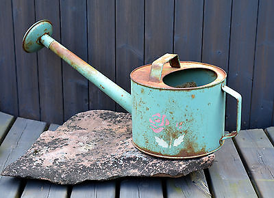 Large 6Litre Vintage Antique Tin Watering Can Green Pink Roses Rustic Decor Rare
