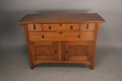 Antique Arts & Crafts Period Oak Wood Server Mission Style Furniture (10557)
