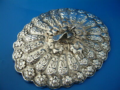 """Egyptian White Metal (Silver) Mounted Hand Mirror - 7""""/18cm l by 5.75""""/14.5cm w"""