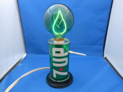 "1970's 10 oz 7-Up The Uncola Steel Can Light with Green Bulb ""WORKS!"""
