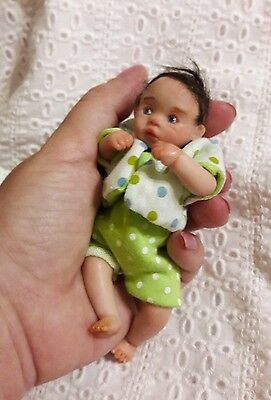 OOAK polymer clay miniature baby doll Tony  4.3', handmade by Kovaleva